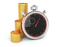 Stopwatch and coins Royalty Free Stock Photo