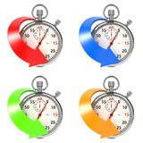 Stopwatch with Colored Arrow. Set on White. Royalty Free Stock Images