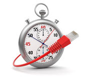 Stopwatch and Computer Cable (clipping path included) Royalty Free Stock Photography