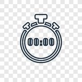 Stopwatch concept vector linear icon isolated on transparent background, Stopwatch concept transparency logo in outline style stock illustration