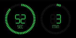 Stopwatch countdown digital green timer display stock illustration