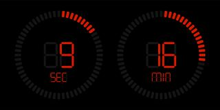 Stopwatch countdown digital red timer display vector illustration