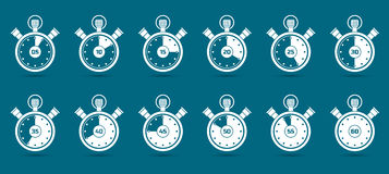Stopwatch Counting time. Time measuring on stopwatch simple design icons Stock Images