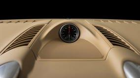 Stopwatch in dashboard of premium car. stock photo
