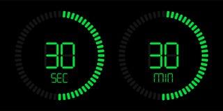 Stopwatch digital green countdown timer vector illustration