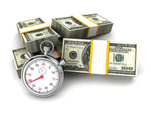 Stopwatch and dollar packs. time is money concept Stock Photo