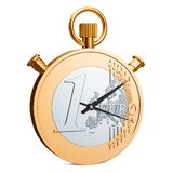 Stopwatch euro coin, 3D rendering. Isolated on white background stock illustration
