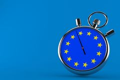Stopwatch with european union flag. Isolated on blue background. 3d illustration stock illustration