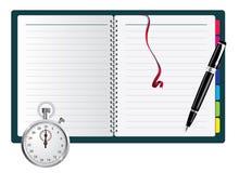 stopwatch för anteckningsbokpennspiral royaltyfri illustrationer