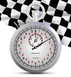 Stopwatch and finish flag. A shiny white stopwatch and finish flag in the background Stock Image