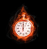 Stopwatch in fire Royalty Free Stock Images