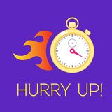 Stopwatch with fire. Concept of running time. Stopwatch with fire sign on violet background. Concept of faster running time, deadline stock illustration