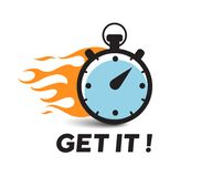 Stopwatch with fire flame vector icon , get it motivation text.  Stock Image
