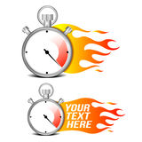 Stopwatch with fire flame. On white background vector illustration