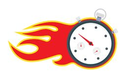 Stopwatch with fire frame. Stopwatch with fire, time is running out, vector illustration Stock Image