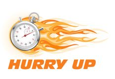 Stopwatch in flame - hurry up banner. Limited time offer stock illustration