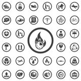 Stopwatch, flame icon. Set of Post delivery icons royalty free illustration