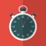 Stopwatch in flat design on red background Stock Images
