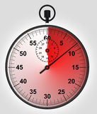 Stopwatch front view with time in red Stock Photos