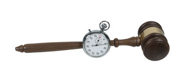 Stopwatch and Gavel Stock Photography