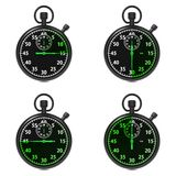Stopwatch - Green Timers. Set on White. Royalty Free Stock Photos