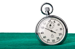 Stopwatch on the green tissue Royalty Free Stock Photography