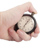 Stopwatch in hand Royalty Free Stock Photography
