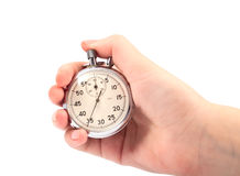 Stopwatch in hand Royalty Free Stock Image