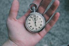 Stopwatch in hand Royalty Free Stock Images