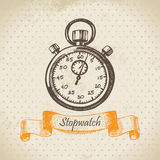 Stopwatch. Hand drawn illustration in retro style royalty free illustration