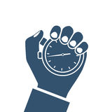 Stopwatch in hand, icon stock illustration