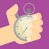 Stopwatch in hand icon isolated, vector Stock Photo