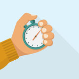Stopwatch in hand icon. Sport timer on competitions. Trainer holding stopwatch. Start, finish. Time management. Vector illustration flat design. Isolated on vector illustration