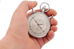 Stopwatch in hand isolated Royalty Free Stock Image