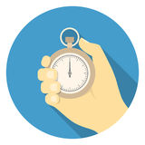 Stopwatch in the hand. Round illustration of stopwatch in the hand in flat style vector illustration