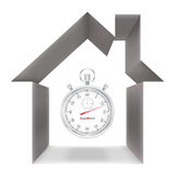 Stopwatch and house Royalty Free Stock Images