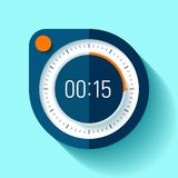 Stopwatch icon in flat style, round timer on color background. 15 seconds. Sport clock. Vector design element for you business pro. Ject stock illustration