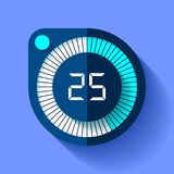 Stopwatch icon in flat style, round timer on color background. Sport clock. 25 seconds. Vector design element for you business pro. Ject Stock Photo