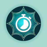 Stopwatch icon magical glassy sunburst blue button sky blue background. Stopwatch icon isolated on magical glassy sunburst blue button sky blue background royalty free illustration
