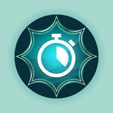 Stopwatch icon magical glassy sunburst blue button sky blue background. Stopwatch icon isolated on magical glassy sunburst blue button sky blue background stock illustration