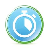 Stopwatch icon natural aqua cyan blue round button. Stopwatch icon isolated on natural aqua cyan blue round button vector illustration