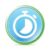 Stopwatch icon natural aqua cyan blue round button. Stopwatch icon isolated on natural aqua cyan blue round button royalty free illustration
