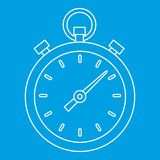 Stopwatch icon, outline style. Stopwatch icon blue outline style isolated vector illustration. Thin line sign Stock Images