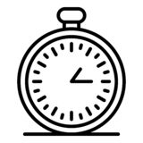 Stopwatch icon, outline style. Stopwatch icon. Outline stopwatch vector icon for web design isolated on white background stock illustration