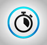 Stopwatch icon round blue push button. Stopwatch icon isolated on round blue push button vector illustration