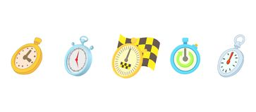 Stopwatch icon set, cartoon style. Stopwatch icon set. Cartoon set of stopwatch vector icons for web design isolated on white background Stock Photography