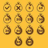 The stopwatch icon, set of 14 icons. Clock and watch, timer, countdown, stopwatch symbol. UI. Web. Logo. Sign. Flat Stock Photo