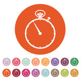 The stopwatch icon. Stopwatch symbol. Flat. Vector. The stopwatch icon. Stopwatch symbol Flat Vector illustration. Button. Set Stock Image