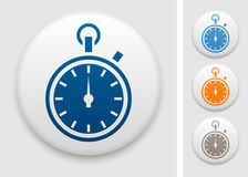 Stopwatch icon. Stopwatch symbol on round button stock illustration