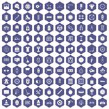 100 stopwatch icons hexagon purple. 100 stopwatch icons set in purple hexagon isolated vector illustration Stock Illustration